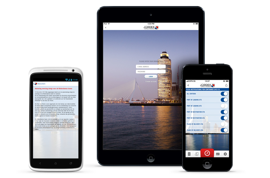 Jordex Android, iPad & iPhone app
